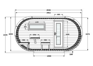 Oval 2,4 x 4 m Front
